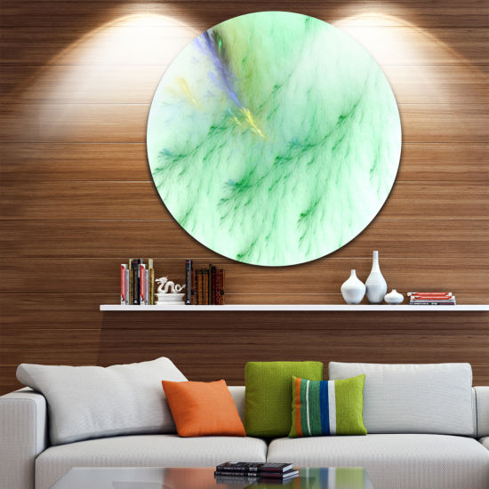 Design Art Light Green Veins of Marble Abstract Round Circle Metal Wall Art Panel