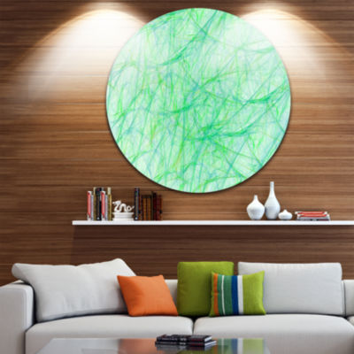 Design Art Clear Green Veins of Marble Abstract Round Circle Metal Wall Art