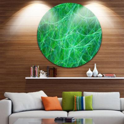Design Art Mystic Green Fractal Veins Abstract Round Circle Metal Wall Art