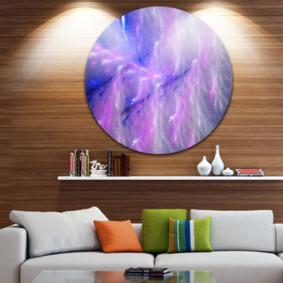 Design Art Mystic Blue Thunder Sky Abstract RoundCircle Metal Wall Art