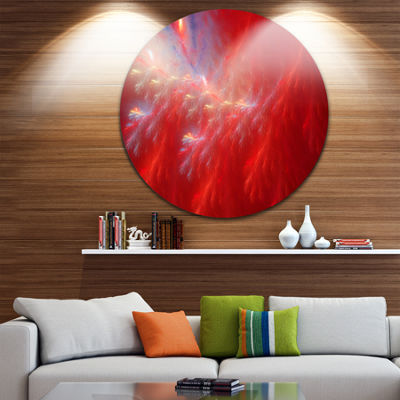 Design Art Mystic Red Thunder Sky Abstract Round Circle Metal Wall Art