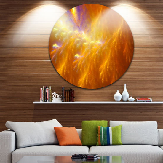Design Art Mystic Yellow Thunder Sky Abstract Round Circle Metal Wall Art