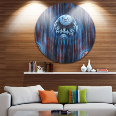 Design Art Blue World of Infinite Universe Abstract Round Circle Metal Wall Art