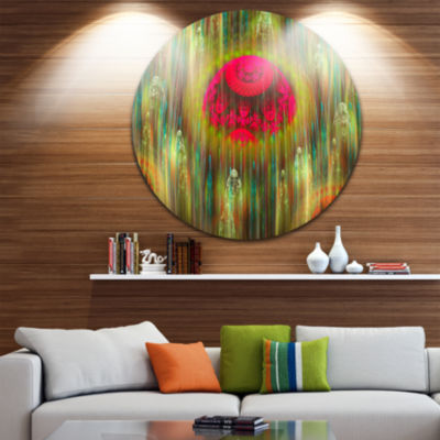 Design Art Yellow World of Infinite Universe Abstract Round Circle Metal Wall Art