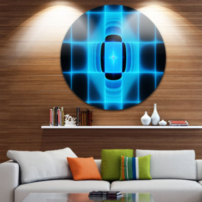 Design Art Blue on Black Thermal Infrared Visor Abstract Round Circle Metal Wall Art