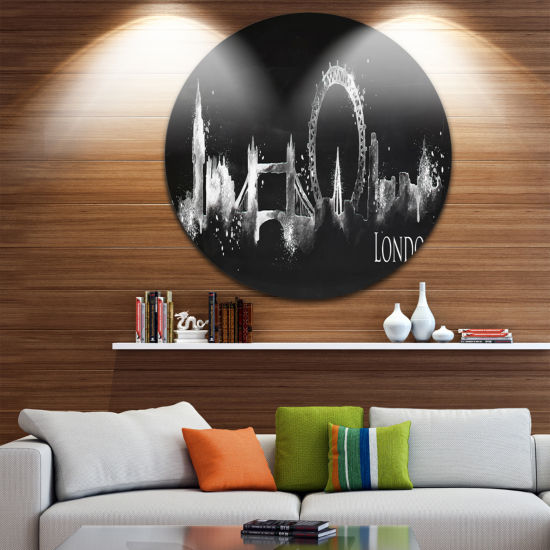 Design Art London Dark Silhouette Disc Cityscape Painting Circle Metal Wall Art