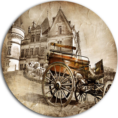 Design Art Medieval Castle with Carriage Disc Contemporary Circle Metal Wall Art