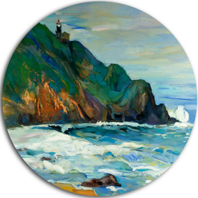 Design Art Lighthouse Landscape Circle Metal WallArt
