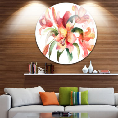 Design Art Lily Flowers Watercolor Illustration Floral Metal Circle Wall Art