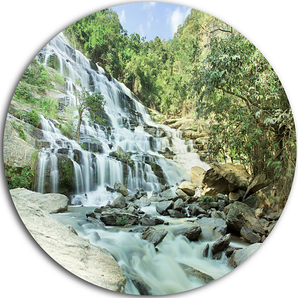 Design Art Maeyar Waterfall in Rain Disc LandscapePhotography Circle Metal Wall Art