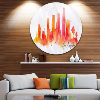 Design Art Los Angeles Silhouette Disc Cityscape Painting Circle Metal Wall Art