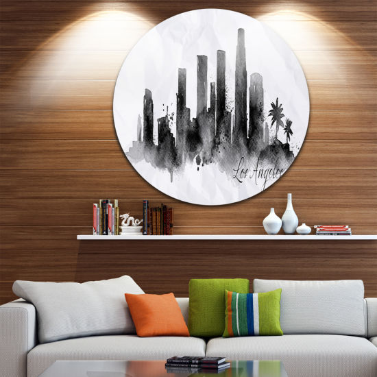 Design Art Los Angeles Black Silhouette Disc Cityscape Painting Circle Metal Wall Art