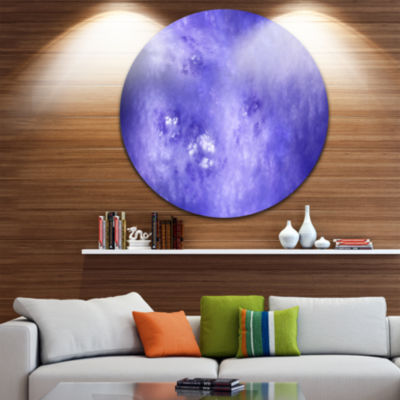 Design Art Light Blue Fractal Sky with Stars Abstract Round Circle Metal Wall Decor