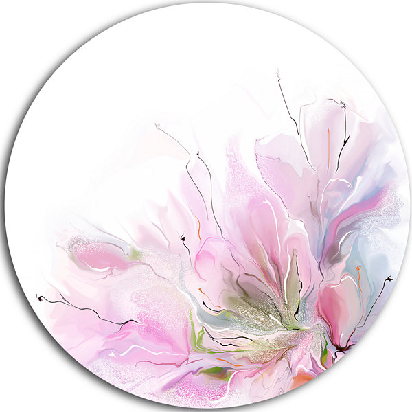 Design Art Lovely Pink Flowers Disc Abstract Floral Circle Metal Wall Arts
