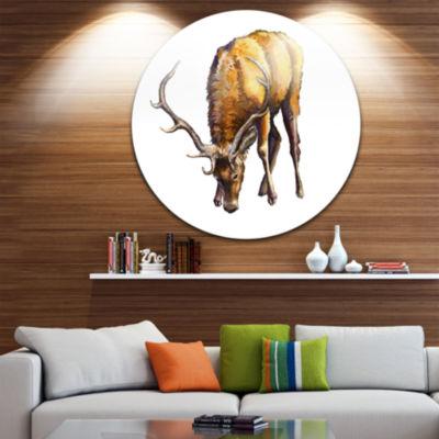 Design Art Male Deer Illustration Art Animal Circle Metal Wall Art