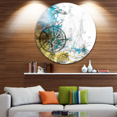 Design Art Marine Background Illustration Art Animal Metal Circle Wall Art