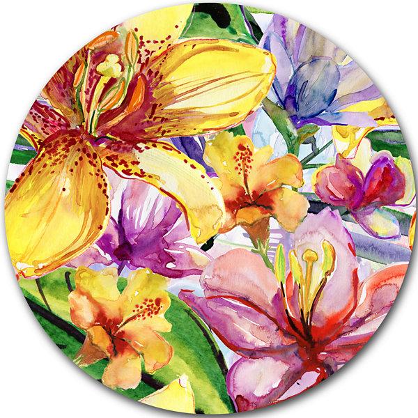 Design Art Lily Flowers Illustration Art Floral Metal Circle Wall ...