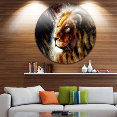 Design Art Majestically Peaceful Lion Animal MetalCircle Wall Art