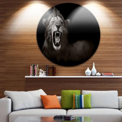 Design Art Lion Displaying Fiery Face Disc AnimalCircle Metal Wall Art