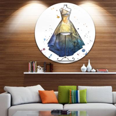 Design Art Mannequin with Long Dress Disc AbstractCircle Metal Wall Art