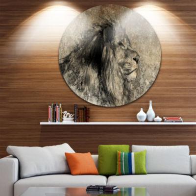 Design Art Lion in Sepia Disc Animal Circle MetalWall Art