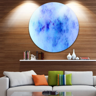 Design Art Light Blue Starry Fractal Sky AbstractRound Circle Metal Wall Decor
