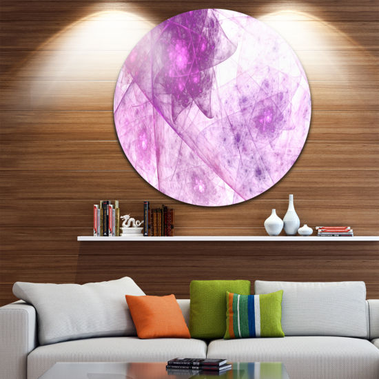 Design Art Light Purple Rotating Polyhedron Abstract Round Circle Metal Wall Decor
