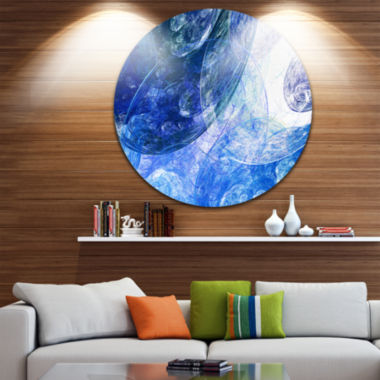 Design Art Light Blue Swirling Clouds Abstract Circle Metal Wall Art