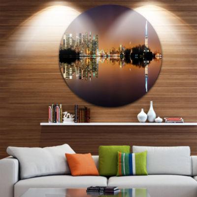 Design Art Manhattan City Panorama Cityscape Photography Circle Metal Wall Art