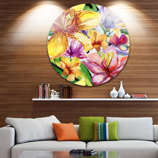 Design Art Lily Flowers Illustration Art Floral Metal Circle Wall Art