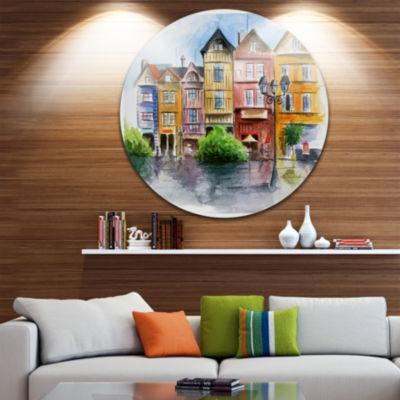 Design Art Little City in Watercolor Landscape Circle Metal Wall Art