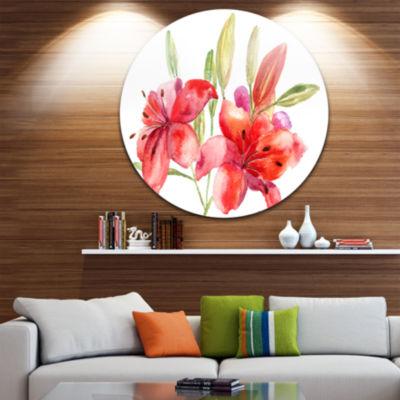 Design Art Lily Flowers Illustration Floral CircleMetal Wall Art