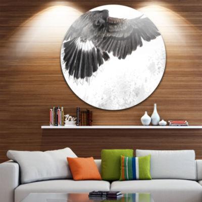 Design Art Low flying Eagle Illustration Animal Circle Metal Wall Art