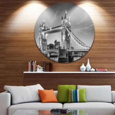 Design Art Majesty of Tower Bridge London Disc Cityscape Photo Circle Metal Wall Art