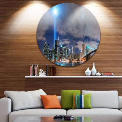 Design Art Manhattan Panorama Disc Cityscape PhotoCircle Metal Wall Art