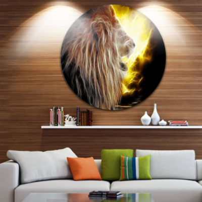 Design Art Lion with Fire Disc Animal Circle MetalWall Art