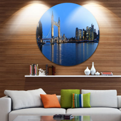Design Art London Tower Bridge in Blue Cityscape Photo Circle Metal Wall Art