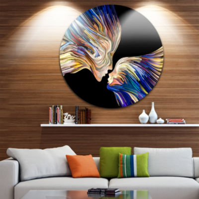 Design Art Metaphorical Mind Painting Sensual Metal Circle Wall Art