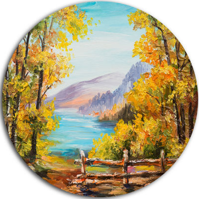 Design Art Mountain Lake in the Fall Landscape Circle Metal Wall Art