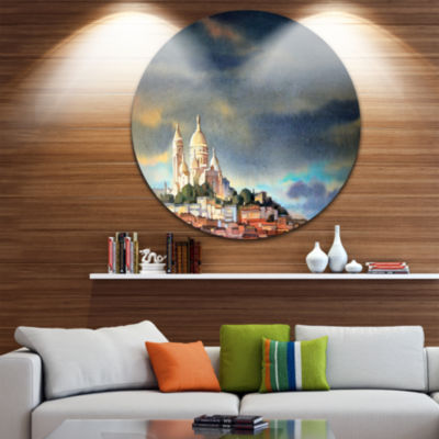 Design Art Montmartre Skyline Disc Watercolor Painting Circle Metal Wall Art