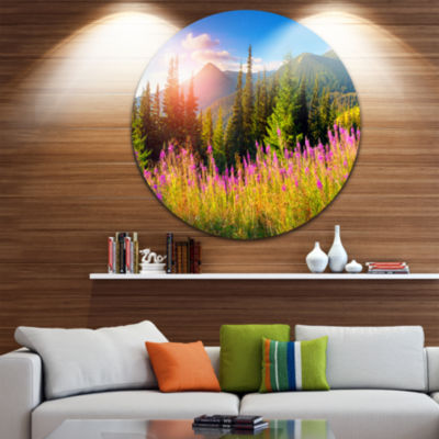 Design Art Mountains with Pink Flowers Disc FloralCircle Metal Wall Art
