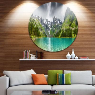 Design Art Mountain Lake Panorama Disc PhotographyCircle Metal Wall Art