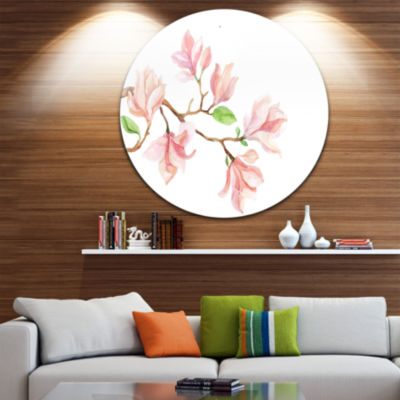 Design Art Mongolia Flower Painting Disc Watercolor Floral Circle Metal Wall Art