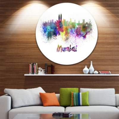 Design Art Mumbai Skyline Disc Cityscape Metal Artwork Print