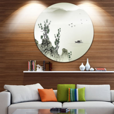 Design Art Mountains and Sea Disc Landscape CircleMetal Wall Art