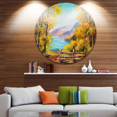Design Art Mountain Lake in the Fall Landscape Circle Metal Wall Art