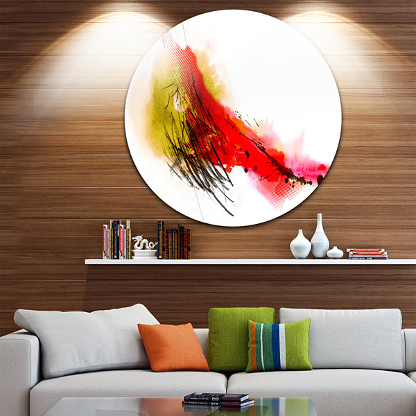 Design Art Multicolor Stain Disc Abstract Circle Metal Wall Art
