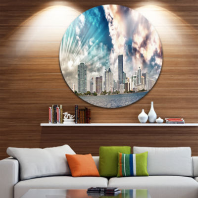 Design Art Miami Skyline with Clouds Disc Cityscape Photo Circle Metal Wall Art
