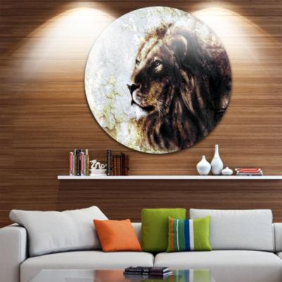 Design Art Mystic Face Disc Animal Circle Metal Wall Art