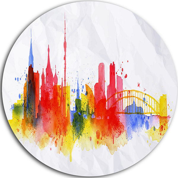 Design Art Moscow Skyline Disc Cityscape Metal Artwork Print